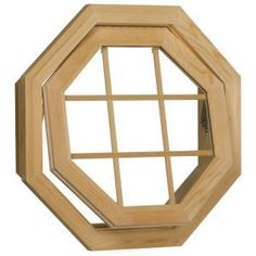Wood Venting Octagon Window, 24 in. x 24 in., Unfinished, Rough Opening with Insulated Glass, 9LT Grid and Screen-