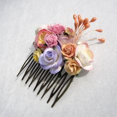 Peach lavender and pink Floral Haircomb Fascinator Vintage Wedding Haircomb Bridal Bridesmaid Accessory on Etsy, 56,34 kr