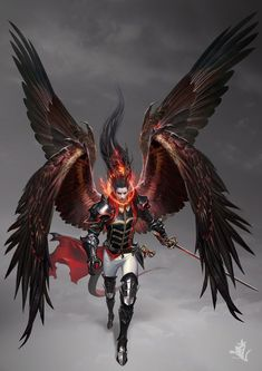 ArtStation - Count of evil dragon, T SWCK. I must say that the artist did a superb job with the black wing lighting accented with the red flames. Fantasy Male, Fantasy Art Angels, Fantasy Demon, Demon Art, Fantasy Warrior, Dark Fantasy Art, Anime Demon, Fantasy Artwork, Dark Art