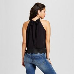 Women's Black Crochet-Trim Crop Tank - Xhilaration (Juniors') Black Xxl