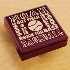 Wood Sports Keepsake Box - Baseball $24.95