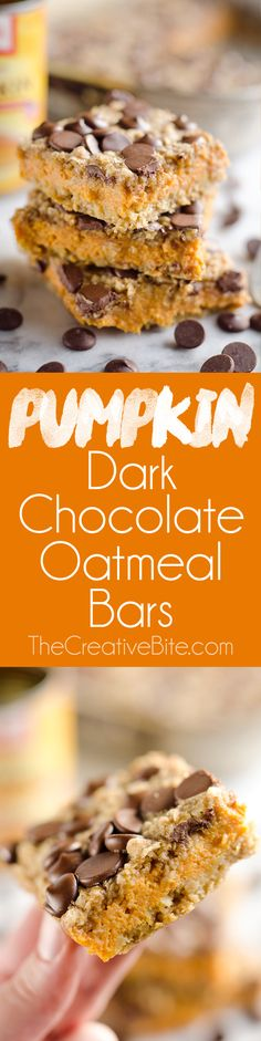 Pumpkin Dark Chocolate Oatmeal Bars are a chewy and delicious dessert loaded with dark chocolate chips and oatmeal. This is an amazing fall treat you won't want to miss! #Fall #Dessert #Bars paleo dessert bars