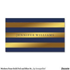 Modern Faux Gold Foil and Blue Stripes Pattern Business Card