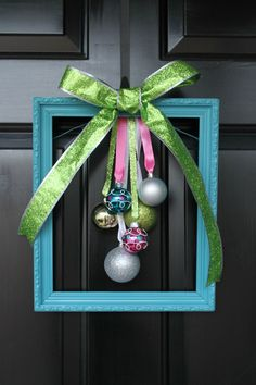 DIY Christmas Door Decor- painted frame and ornaments