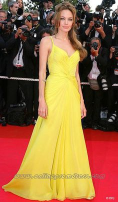 Angelina Jolie Spaghetti Straps Ruched Yellow Red Carpet Dress at Cannes  Film Festival Red Carpet Gowns 1df17212d561