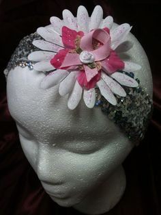 Handmade adult or child stretchy sequin headband Breast Cancer Awareness design on Etsy, $3.00