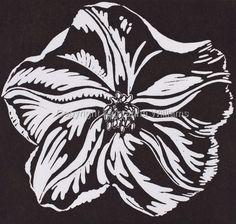 "Black and White Moonflower Linocut- Maryanna Williams 7.25""H x 7.75""W"