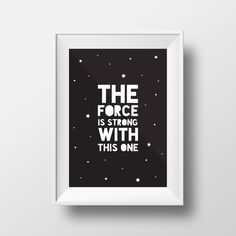 Star Wars Poster, Typography Print, quote, Yoda, Black and White Decor, Star Wars, The force is strong with this one, Monochrome Print par Petitestarsandclouds sur Etsy https://www.etsy.com/fr/listing/261208074/star-wars-poster-typography-print-quote