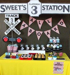 Train Themed 3rd Birthday Party Dessert Table - Spaceships and Laser Beams