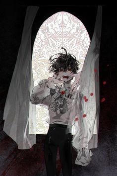 The devil tempts all men, but idle men tempt the devil 🖤 . Dark Anime Guys, Cool Anime Guys, Cute Anime Boy, Anime Boys, Manga Art, Manga Anime, Anime Art, Art Goth, Handsome Anime