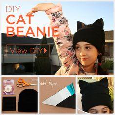 No Sew Cat Beanie Free Craft Project   FaveCrafts.com
