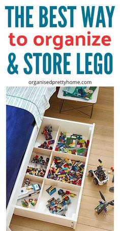 What is the best way to store the kids' Lego? Check out these lego storage & organization ideas and solutions. - Organised Pretty Home   DIY   Ikea   by color   under bed   containers   boxes   drawers   display table   bag   boys   for girls   dollar store   playroom   built   organizers #lego #legostorage #legotable #legominifigures #ikea #diy #playroom #playroomideas #organize #organizedhome #kids #kidsroom #organizetoys #organizelego