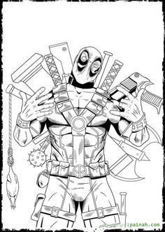 deadpool flaunting all of his weapons coloring page - Taser Gun Cartoon Coloring Pages