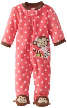 Little Me Baby-Girls Newborn Monkey Blanket Sleeper Girl, Pink Multi, 6 Months