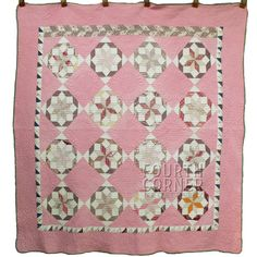 Grand Lushly Quilted Rolling Star Late 19c 6 8SPI Scrapbag Pink Quilt Borders | eBay