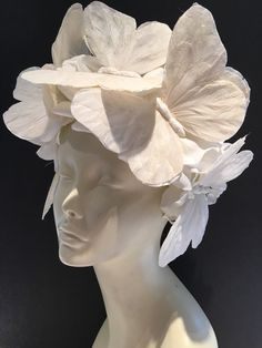 Your place to buy and sell all things handmade White Fascinator, White Headband, Fascinator Hats, Fascinators, White Butterfly, White Flowers, Wedding Headdress, Easter Flowers, Paperclay