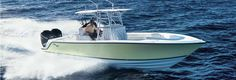 SeaVee 290 deep V fishing boat with twin outboards.