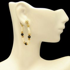 Freshwater Pearls Faux Onyx Beads Vintage Earrings Gold Plated Posts Very Unique