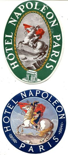 2 ETIQUETTES BAGAGES HOTEL NAPOLEON PARIS CORSE Bonaparte TBE avec gomme in Collections, Objets publicitaires, Publicités papier | eBay