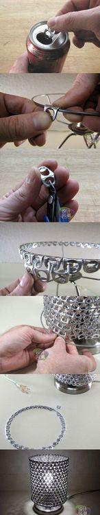 DIY Pop Ring Lampshade DIY Projects / UsefulDIY.com (diy,diy projects,diy craft,handmade,diy pop ring lampshade)