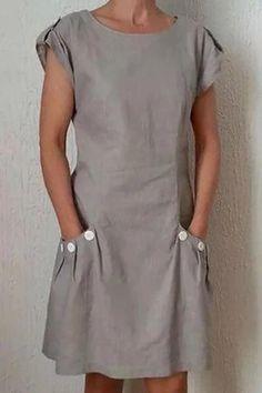 Button Pockets Mini Dress | girlyrose.com