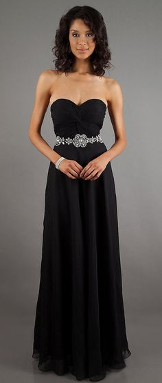 Glamourous Black Formal Chiffon Dress Long Strapless Sweetheart