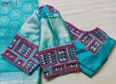 Stunning designer blouse with unique design hand embroidery work. Stunning designer blouse with unique design hand embroidery work. Cutwork Blouse Designs, Choli Blouse Design, Pattu Saree Blouse Designs, Simple Blouse Designs, Stylish Blouse Design, Bridal Blouse Designs, Blouse Neck Designs, Cut Work Blouse, Aari Work Blouse