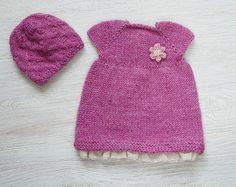 15-16 Zoll Waldorf Puppe Kleidung, Kleidung gesetzt, hand stricken Kleid & Hut