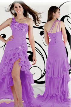 Lilac Asymmetrical Lace-up Chic And Sweet Sheath/Column Chiffon 2015 Prom Evening Dress