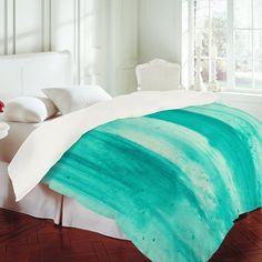Madart Inc. 'Modern Dance Aqua Passion' Duvet Cover  ALL RIGHTS RESERVED, COPYRIGHT PROTECTED