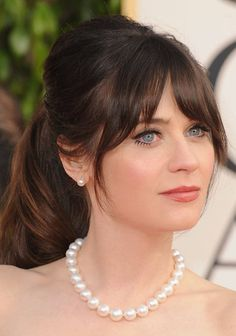 Vintage Hairstyles With Bangs Zooey Deschanel Golden Globes 2013 - Ponytail Hairstyles, Hairstyles With Bangs, Bangs With Ponytail, Bangs Updo, Beach Hairstyles, Men's Hairstyle, Fringe Hairstyles, Formal Hairstyles, Wavy Hair