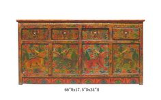 40% off SALE $1920  Tibetan Antique Dragon Painting Buffet Table TV Stand Cabinet WK2280