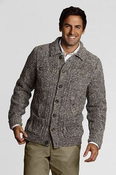 Men's Donegal Cable Cardigan Sweater from Lands' End Core Wardrobe, Cable Cardigan, Donegal, Mens Fashion, Fashion Outfits, Men's Grooming, Cool Sweaters, What To Wear, Style Me