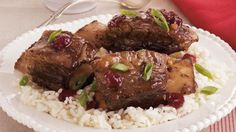 Treat your family to a hearty Asian dinner with these beef ribs that are baked with cranberry and teriyaki sauce.