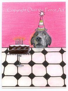 Dog Art Birthday Card, Black Labrador Fine Art Card,  Handmade Card, Pet Portrait, Funny Dog Card,Dog Waits for Cake by overthefenceart on Etsy