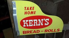 Kern's Bread and Rolls Vintage Door Push (Old Antique Grocery Convenience Store Advertising Sign with Aluminum Handles)