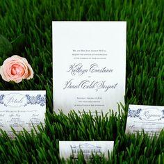 Modern navy damask invitations | Marni Rothschild Pictures | Scotti Cline Designs