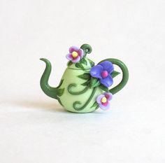 Miniature Lovely Purple Fairy Blossoms Teapot OOAK by C. Rohal