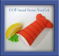 Natural Wool Felt Play Food - Lobster Tail and Lemon Wedge - Waldorf Inspired Pretend Kitchen Accessory for Imaginative Play