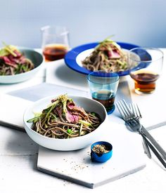 Seared soy beef with soba and cucumber