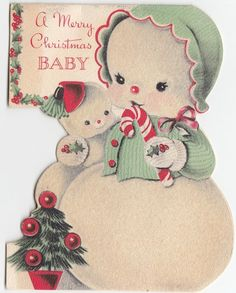 Vintage Greeting Card Christmas Snowman Mother Baby Christmas Norcross Die-Cut