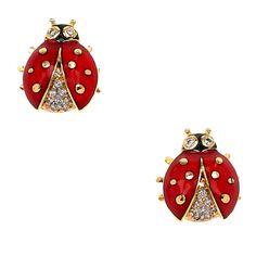 Diamonds Red Ladybug Stud Earrings - 18K Gold