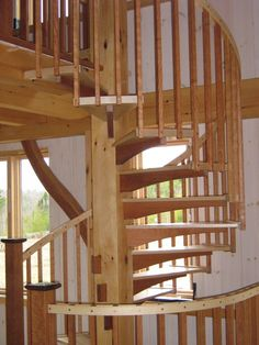Spiral Stair in Timber Frame Cabin | Vermont Timber Frame Company: TimberHomes LLC - Vershire, Vermont