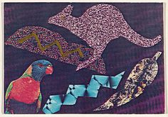 David McDiarmid, Postcard (Kangaroo and parrot) 1985 screenprint, printed in colour, from multiple stencils; collage 10.1 x 15.0 cm