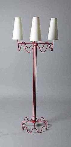 Jean Royère - Magen Gallery; Floor lamp, Painted metal, c.1950, 66H x 27W inches - SOLD