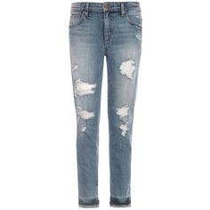 Joe'S Jeans Destructed Ankle Jeans (80 CAD) ❤ liked on Polyvore featuring jeans, pants, bottoms, jeans/pants, bijou blue, plus size, boyfriend jeans, blue ripped jeans, plus size jeans and slouchy boyfriend jeans