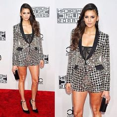 Our very own @ninadobrev brought her fashion A-game yesterday night at the #AMAs as she stepped out on the red carpet in a #ZuhairMurad black & silver studded blazer over black sheer corset, paired with matching shorts from the #Spring2017 #Rtw collection