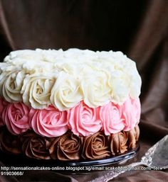 Elegant White, Pink, and Chocolate color Roses Wedding Cake.
