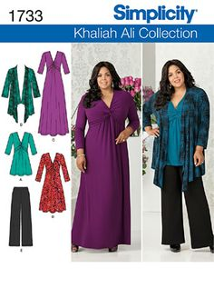 Simplicity Sewing Pattern Item # 1733: Khaliah Ali Collection: Long Flowing Dress, Wide Leg Pants, Shirt / Top / Tunic, Cardigan / Jacket SewingPatterns.com | Simplicity 1733SIM $2.99 #sew #sewingpattern