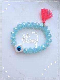 Tassel bracelet/Evil Eye bracelet/ Crystal bracelet by Calliopesboutique on Etsy Tassel Bracelet, Crystal Bracelets, Handmade Jewelry, Unique Jewelry, Handmade Gifts, Evil Eye Bracelet, Tassels, Bling, Eyes